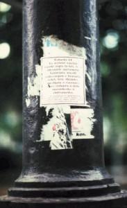 Affiches dans la rue. Je suis gitan. Valence (1992)