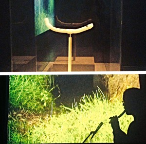 Zin Taylor The Flute of Sub 2007 Installation audiovisuelle Une sculpture, une video Sculpture : plastique, bois ; 30x23x43 cm Vidéo : monobande, couleur ; durée 10' 40''