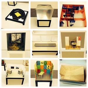 Benjamin Seror,  Le principe Totochabo, 2011, Ensamble de 10 maquettes; carton, bois, papier aluminium, papier, adhésif.