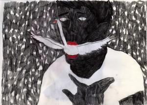 cygne, 297x210mm, crayon de couleurs, 2012