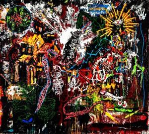 Orsten Groom, Rattengottig, 2007, huile et glycero sur toile, © Flavien Prioreau