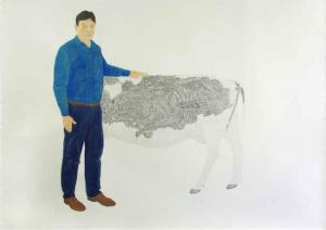Marion Bénard, Gardian, 2014, crayon graphite et aquarelle sur papier, 200 x 270 cm. © Marion Bénard