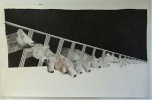 Marion Bénard, Loges, 2010, crayon sur papier, 149 x 238 cm.
