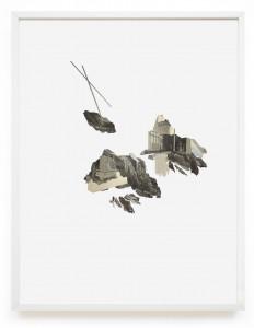 Claire Trotignon, Nos abîmes inclinées, 2015, collage de gravures, 40x50 cm. © Galerie de Roussan