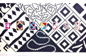 Détail de l'exposition « Arlequine » de Karina Bisch à la Galerie des Galeries, Galeries Lafayette Paris, avril 2015, crédits photographiques : Lisa Tietze