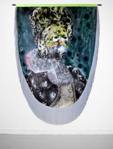 Raphaël Barontini, Série Célébration, Sans titre, 2012, technique mixte sur toile, 210 x 150cm © Raphaël Barontini