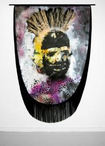 Raphaël Barontini, Série Célébration, Sans titre, 2011, technique mixte sur toile, 210 x 150cm © Raphaël Barontini