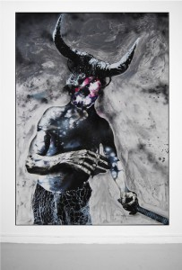 Raphaël Barontini, Série Colosses, Wacha wacha , 2011, technique mixte sur toile, 250 x 180cm © Raphaël Barontini