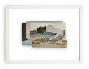 Claire Trotignon, A Little River, A Great Dam, A Beautiful Lake 4, 2015, Collage cartes postales, 23x29 cm. © Galerie de Roussan