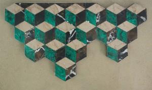 Jessica Boubetra, D'un pas infini, 2015, malachite, marbre, plomb, 25 x 70 x 37 cm.