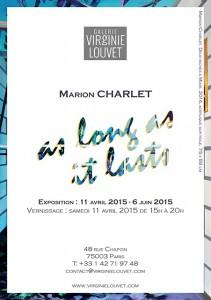 Carton de l'exposition As Long as It Lasts à la Galerie Virginie Louvet de Paris © Marion Charlet