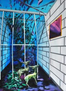 Marion Charlet, Deux biches à Miami, 2014, acrylique sur toile, 75 x 55 cm © Marion Charlet