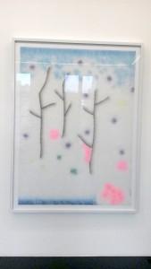 Lionel Estève, Sans titre, 2015. peinture acrylique sur verre, encadrement, 206 x 156 cm. © Martina Furno