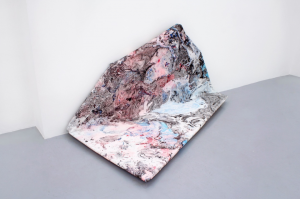 Valentin Dommanget, Digital Stretcher Studies IV, acrylic spray pigments, chemical solutions on canvas, stretched on wood, 170 x 90 x 90 cm, 2014