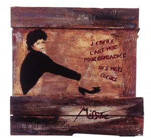 J'enfile l'art mur - Miss. Tic, 1986, encre aérosol sur toile de bois. Crédits photographiques : http://florentnicolas.fr/miss-tic/