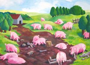 """Le Déjeuner Sur l'Herbe, Série """"Les Tombeaux"""", 2012, gouache sur papier, 150x200 cm, © ENSADERS"""