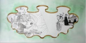 La Découverte, Encre de chine et aquarelle sur papier, 2015, 50 x 100 cm