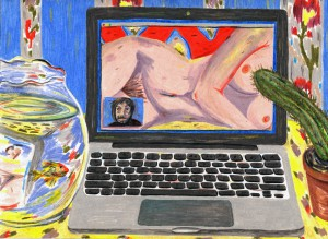 Odalisque with Cactus and Fishbowl, Jennifer May Reiland, Colored pencil on paper, 9 x 12 in, credits to the artist