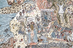 Self-Portrait as Mary Magdalene Having a Vision of the Apocalypse, Jennifer May Reiland, Detail, Watercolor and Pen on Paper, 20 x 28 in, credits to the artist.