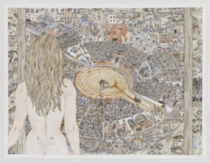 Jennifer May Reiland, Encierros, Pen and Watercolor on Paper, 38 x 50 in, Credits to Jennifer May Reiland